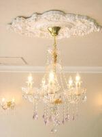 シャンデリア クリスタル プリンセスティアラ 5灯 ピンクドロップ