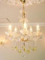 シャンデリア プリンセスティアラ 5灯 イエロードロップ