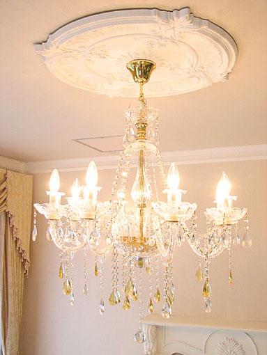 シャンデリア プリンセスティアラ 8灯 イエロードロップ