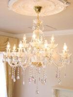 シャンデリア クリスタル プリンセスティアラ 12灯 ピンクドロップ