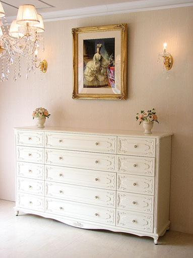 チェスト W180cm 引出し5段15杯 ホワイト色 薔薇の彫刻