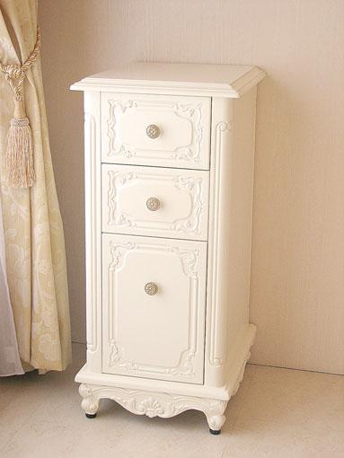 サイドチェスト 猫脚 シェルの彫刻 ホワイト