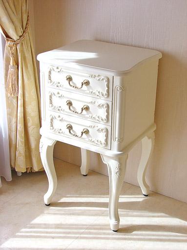 スモールチェスト 薔薇の彫刻 ホワイト色
