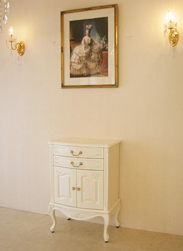 ラ・シェル 電話台 バラの彫刻 ホワイト色 H87㎝