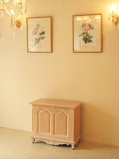 ベンチボックス シェルの彫刻 ピンクベージュグロス色