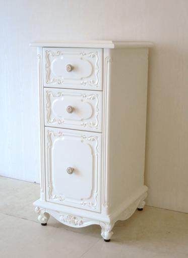 サイドチェスト 猫脚 薔薇の彫刻 ホワイト色