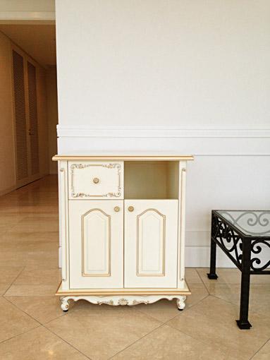 キャビネット シェルの彫刻 ダストボックス収納タイプ アンティークホワイト&ゴールド色