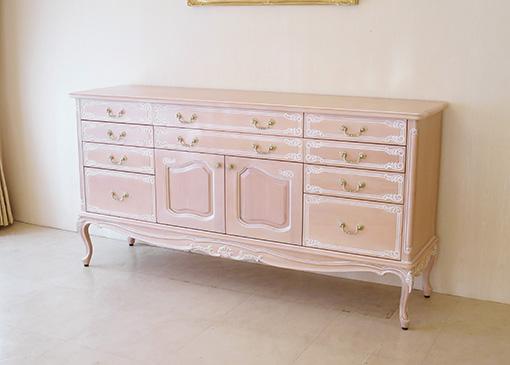 チェスト シェルの彫刻 ピンクベージュ色 W180 引出し10杯 仕切り付き 2枚扉