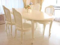ラ・シェル ダイニングテーブル 160 リボンの彫刻 ホワイト色