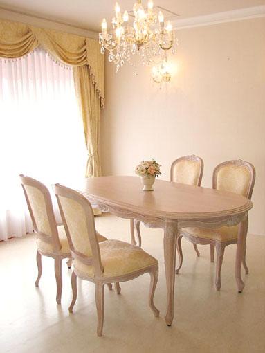 ラ・シェル ダイニングテーブル 160 薔薇の彫刻