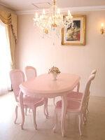 ラ・シェル ダイニングテーブル 160 バービーピンク色