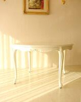 ラウンドテーブル120 リボンの彫刻 ホワイト