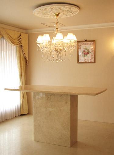 大理石家具 ダイニングテーブル W180×D90×H100 クリームベージュ色