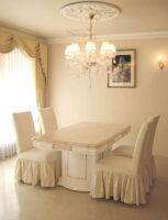 アフロディーテ ダイニングテーブル 天然大理石 ロッソポルトギャロ色