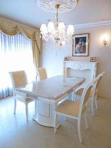 大理石家具  アフロディーテ ダイニングテーブル180 ホワイトカラーラ