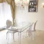 ヨーロピアン家具 ダイニングテーブル W160cm ロココ調 クリア色 ガラストップのサムネイル