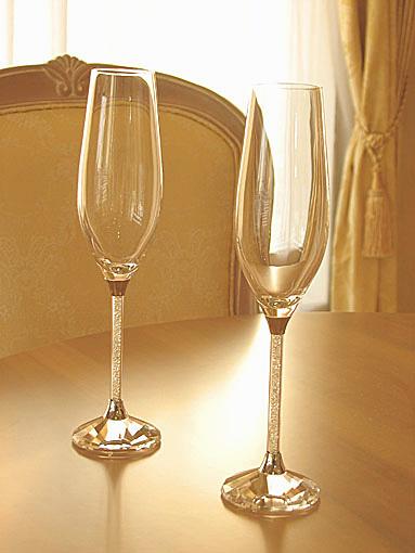 輸入雑貨 シャンパングラス クリスタルガラス 2客セット
