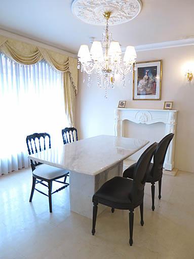 大理石家具 ダイニングテーブル ホワイトカラーラ 160×90