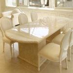 大理石家具 ダイニングテーブル240cm 2本脚 エレガンスライン クリームベージュのサムネイル