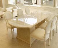 大理石家具 ダイニングテーブル240cm 2本脚 エレガンスライン クリームベージュ