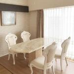 大理石家具 ダイニングテーブル180cm 1本脚 エレガンスライン オニキス ナチュラル仕上げのサムネイル