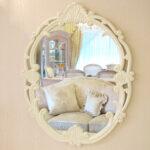 ウォールミラー バラの彫刻 ホワイトのサムネイル