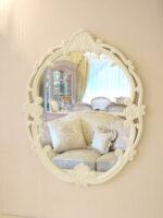 ウォールミラー バラの彫刻 ホワイト
