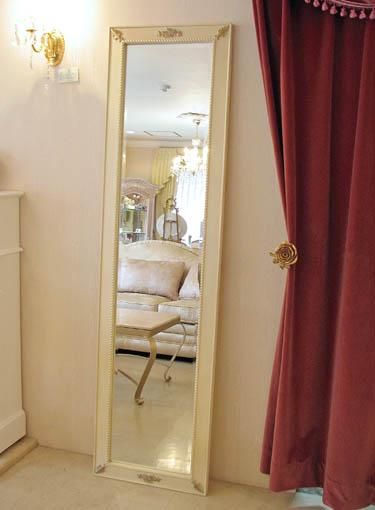ウォールミラー 姿見 薔薇の彫刻 アンティークホワイト&ゴールド色