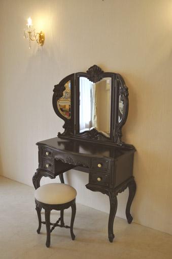 ドレッサー 三面鏡 ブラウン