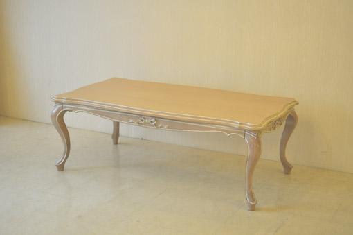 センターテーブル オードリーリボンの彫刻 ピンクベージュ