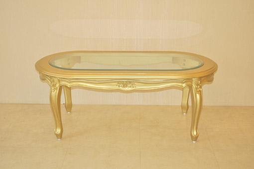 オーバル センターテーブル 薔薇の彫刻 ゴールド色