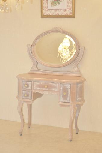 ドレッサー 一面鏡 薔薇の彫刻 スツールなし