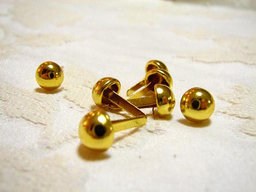 カルトナージュ 金具 丸い脚割れ鋲(小) ゴールド