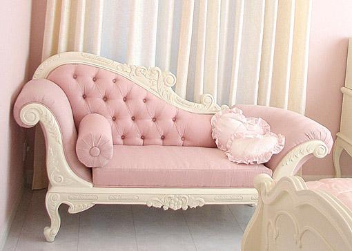 カウチソファ W170cm ホワイト色 ピンクモアレ柄