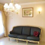 ベルサイユ 3Pソファ ゴールド色 ブラックレザー(本革)のサムネイル