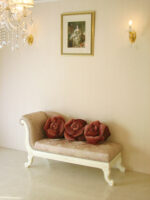 薔薇の令嬢ソファ ホワイトの猫脚 ピンク花かご柄