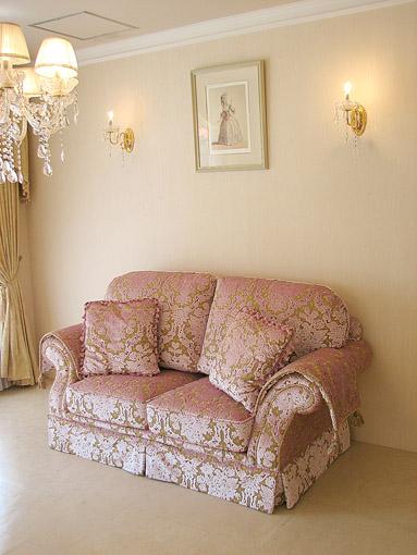 ソファ フィガロ2P 金華山織りピンクの花かご柄