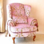 ウィングチェア SH43cm 金華山織りピンク花かご柄 脚:ライトブラウンのサムネイル