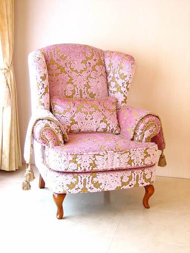 ウィングチェア SH43cm 金華山織りピンク花かご柄 脚:ライトブラウン