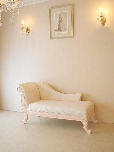 薔薇の令嬢ソファ パステルピンク色×オールドローズ柄