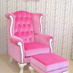 ウィングチェア&オットマン ベビーピンクのベルベットの張り地 ホワイト色のサムネイル
