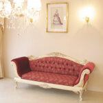 カウチソファ 両肘タイプ 薔薇の彫刻 アンティークホワイト&ゴールド色のサムネイル
