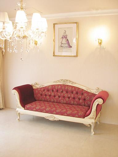 カウチソファ 両肘タイプ 薔薇の彫刻 アンティークホワイト&ゴールド色