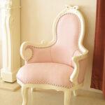 オードリー リボンの女優ソファ W70 ピンクモアレ柄の張り地のサムネイル