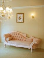 カウチソファ W210×D65 バービーピンク色 ピンクモアレの張り地