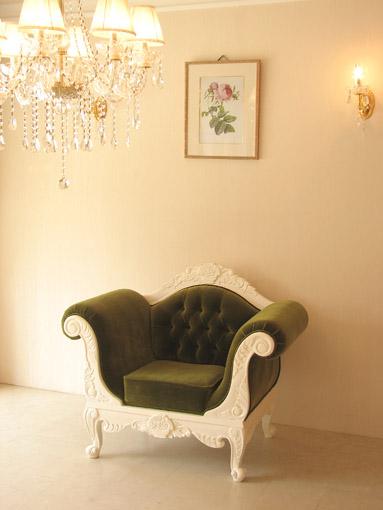 1Pソファ ローズフラワーブーケの彫刻 ホワイト色 グリーンベルベットの張地