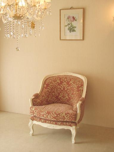 ベルサイユ 1Pソファ 薔薇の彫刻 ホワイト色 金華山の張地