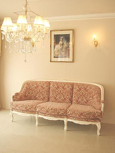 ベルサイユ 薔薇の彫刻 3Pソファ ホワイト色 金華山の張地
