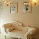 カウチソファW170 ビバリーヒルズ&薔薇の彫刻 オールドローズ柄の張り地 ホワイト色のサムネイル