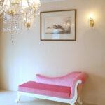 薔薇の令嬢ソファ W150cm ホワイト色 肘置き右側 ベビーピンクの張地のサムネイル